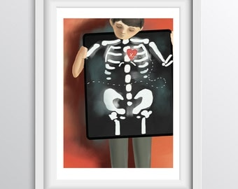 X-ray Children's Wall Art - X marks the spot (and the heart) on the X-Ray - Alphabet print - A4 fine art print