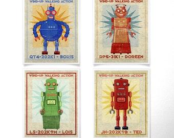 "Retro Robot Art Prints for Boys Room- 8"" x 10""- Set of 4 Robot Prints- Kids Wall Art- Robot Wall Art- Kids Room- Sci Fi Art- Kid Bedroom"