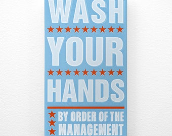 "Bathroom Decor Kid- Kids Room Art- Wash Your Hands By Order of the Management Word Art Block- 4"" x 7"" Kids Wall Art- Kid Bathroom Sign"