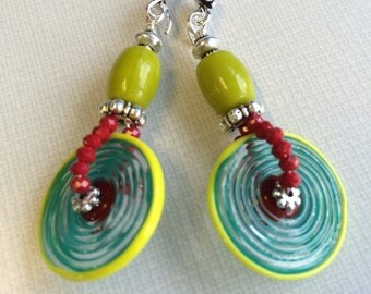 Handmade Lampork discs, olive czech beads silver earrings