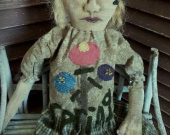 Primitive, Folk Art, Very Primitive, Spring, Seasonal, Flowers, Handmade, Doll by Mustard Seed Originals