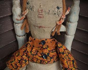 VERY Primitive, Raggedy Ann, Fall, Halloween, Pumpkin, Folk Art, TeamHAHA, Hafair, old cloth, rag doll by Mustard Seed Originals