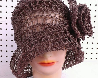 Crochet Pattern Hat, Crochet Sun Hat Pattern for Women, Crochet Hat Pattern, Womens Hat, Ombretta Hemp 1920s Cloche Hat Pattern with Flower,