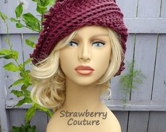 Crochet Hat Womens Hat Trendy, Womens Crochet Hat, Steampunk Hat, Picot Crochet Beanie Hat, Dark Raspberry Hat, LISA Beanie Hat for Women