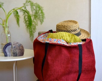 Big Red Tote Bag / Lined Summer Tote / Shopping or Beach Bag