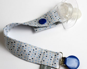 Pacifier clip - snap - enamel clip - dots - blue - navy blue - cotton fabric - baby boy - baby girl - baby gift - baby shower - dummy