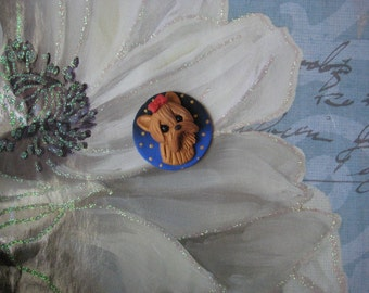 Yorkie, Yorkshire Terrier dog pin, brooch, handmade, polymer clay, OOAK, gift, jewelry, blue