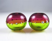 Lime and Pink Fine Silver Droplet Hollow Lampwork Glass Bead Pairs