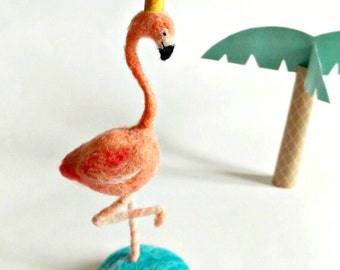 Needle Felted Flamingo Queen - soft sculpture - tropical - handmade