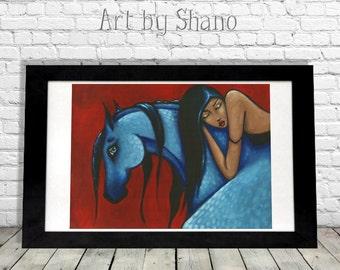Gypsy Wall Art, Horse Lovers Gift, Farmhouse Decor, Modern Farmhouse, Bohemian Woman,Western Pony,Equestrian Print, Fixer Upper Style, Shano