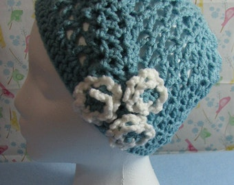 Crochet Pattern - Pug Lace and Flowers Hat - Women's Hat - Dog Lover Gift - Crochet Hat - Animal Hat Pattern - PDF, Digital Download