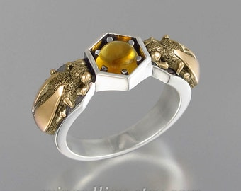 HONEY DROP silver and 14k gold ring Amber honeybee ring