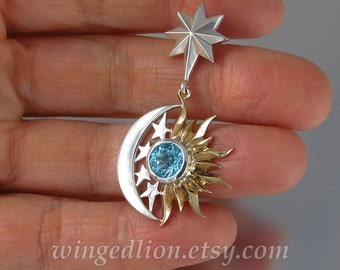 ECLIPSE - SUN and MOON 14k gold and silver pendant with Swiss Blue Topaz