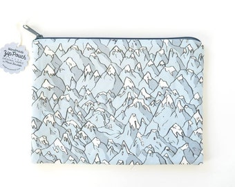 Forever Mountains Large Flat Zipper Pouch | Original Fabric Design | Grey Snow-Capped Peaks