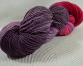 NEW Hand Dyed DK Weight Yarn Polworth and Silk - Tango by Yarn Hollow - Red Hot Night Multi Color 4 ounces 330 yards