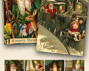 Christmas Printable Santas, 3.5x2.5 inches, Vintage Christmas Collage Sheet, Santa Claus Printables, ATC Printable Download - piddix 421