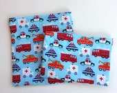 Reusable Sandwich Bag, Snack Bag for Boys with Fire Trucks, Police Cars, Tow Trucks and Ambulances, School Lunch, Cars and Trucks Birthday