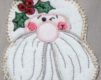 In The Hoop Winkin Santa Pin - Embroidery Project made in 5x7 hoop