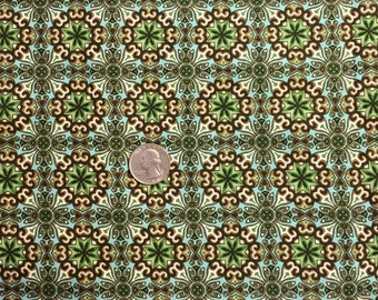 GORGEOUS MEDALLION Fabric - Green Turquoise Brown Print Last Cut