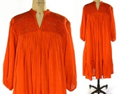 Indian Cotton Gauze Peasant Dress / Vintage 1970s Bohemian Dress with Crochet Neckline / Mandarin Orange Summer Dress with Sleeves
