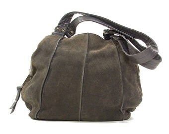 90s Tignanello Soft Suede Hobo / Vintage 1990s Grey Leather & Suede Purse with Pockets / Slouchy Butter Soft Shoulder Bag / Classic Casual