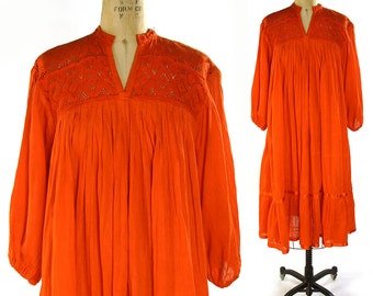 Indian Cotton Gauze Peasant Dress / Vintage 1970s Bohemian Dress with Crochet Neckline / Mandarin Orange Boho Summer Dress with Sleeves