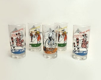 """5 Anchor Hocking Glasses Vintage """"As We Were"""" Tall Tumblers Elegance Drinking Glasses Victorian Scenes Multi Color Kitsch Glassware"""