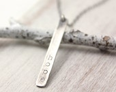 Personalized Stamped Bar Necklace Silver