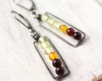 Ombre Amber Rectangle Oxidized Silver Earrings