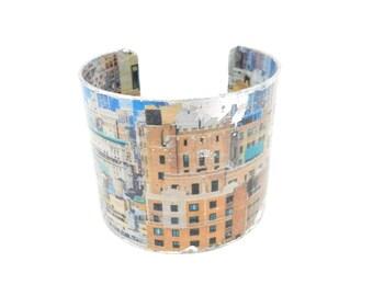 Cuff Bracelet, Bracelet Cuff, Art Cuff, Decoupage Bracelet Cuff, Wide Bracelet, Urban Art, Art Jewelry, Artisan Made by Durango Rose
