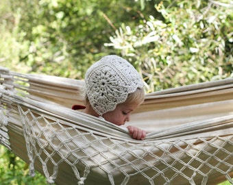 Crochet Baby Bonnet in Natural Cotton