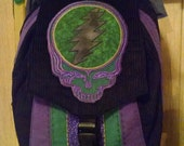 Black, Purple and Green Corduroy Backpack with Grateful Dead Stealie and Bolt Applique