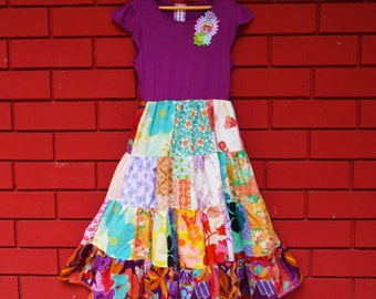 Little Goddess Patchwork Tee Dress size 6-7