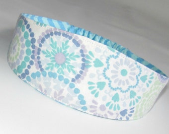 Women's Headband Fabric Headband Women Hairband  Yoga headband Hair Fashion Accessories, Reversible Fabric Headband Pastel Flowers Dots