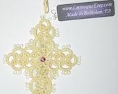 Tatted Cross Bookmark with Swarovski Crystal Center - Pale Yellow -  Handmade - C38