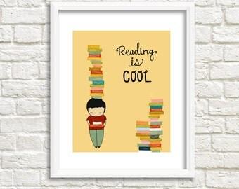 Book Art - Book Lover Print - Reading Illustraton - Reading Art Print - Library Art Print - Kids Art - Boys Room - Imagination (boy)