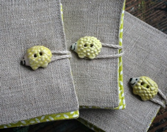Small Linen Needle Book - ceramic Hedgehog button - Chartreuse