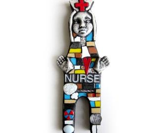 NURSE. (Handmade Original Mosaic Art Doll by Shawn DuBois)