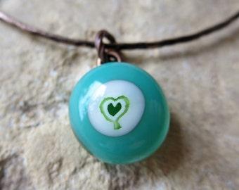 Fused Glass Bangle, Charm Bangle, Charm Bracelet, Fused Glass Bracelet, Aqua Bangle, Made in France, Love Trees