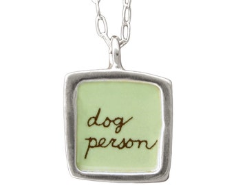 "Dog Necklace - Reversible Sterling Silver ""dog person"" Necklace"