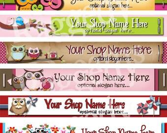 Raggedy Dreams Designs - Premade Etsy Shop Banner - SHOP ICON - Primitive Folk Art Owl Colorful Bright Design