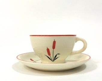 Cattail Cup and Saucer ~ Universal Pottery Cup and Saucer ~ Camwood Ivory Cambridge, Ohio Cup and Saucer Cattail Pattern
