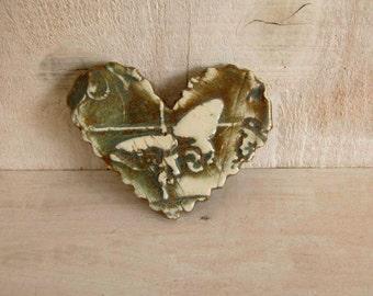 Ceramic Heart Pin handmade brown cream butterfly Pin Brooch Abstract Art Pin 158