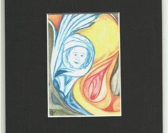 ALISSA original art colored pencil drawing ACEO matted 5x7