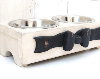 Shabby Dog Bowl Holder Feeding Stand Cat Bowls Antique White Black Ribbon Bow Custom