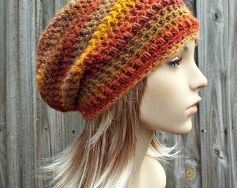 Crochet Hat Womens Hat - Penelope Puff Stitch Slouchy Beanie Hat - Yellow Gold Orange Rust Mesa - Winter Hat