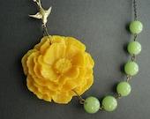 Flower Necklace,Yellow Flower Necklace,Yellow Necklace,Flower Necklace,Poppy Necklace,Lime Green Necklace,Statement Necklace,Bridesmaid Set