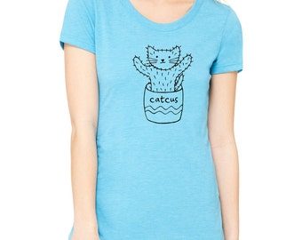 CATCUS funny cat cactus plant FITTED t shirt scoopneck tee tshirt kitten