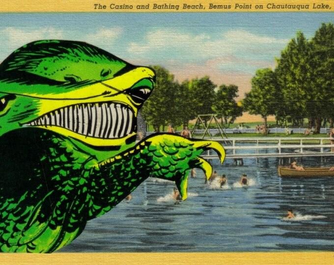 Comic Monster Art Collage, Horror Artwork, New York Postcard
