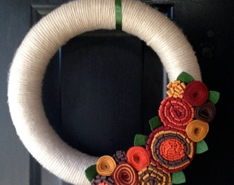 Fall Wreath, Thanksgiving Wreath, Autumn Wreath, Felt Flower Wreath, Holiday Wreath, Front Door Wreath, Fall Felt Wreath, Yarn Wreath